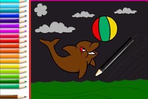《给小海豚画颜色》游戏画面1