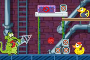 《小鳄鱼扔水球》游戏画面1