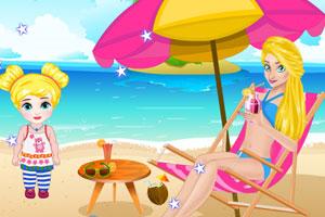 妈妈和宝贝在沙滩