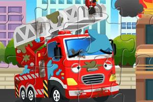 破旧卡通消防车拼图