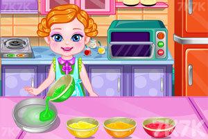 《宝贝制作彩虹蛋糕》游戏画面2