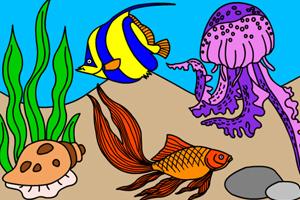 《海底世界填颜色2》游戏画面1